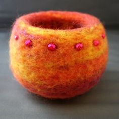 Pueblo Felted Bowl with Merino wool, and art yarn swirls around the entire bowl. Description from pinterest.com. I searched for this on bing.com/images