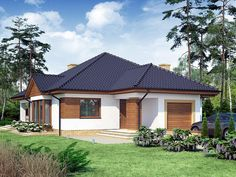 Modern Bungalow House, Bungalow House Plans, Village House Design, Village Houses, Plans Architecture, Cottage Style Homes, Home Design Plans, Home Fashion, Gazebo