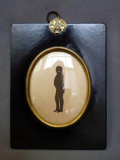 Antique Miniature Portrait Silhouette Full Body Picture Painting Frame Folk Art