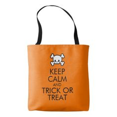 "Halloween Tote Bag: ""Keep Calm and Trick or Treat"" - diy cyo customize unique special"