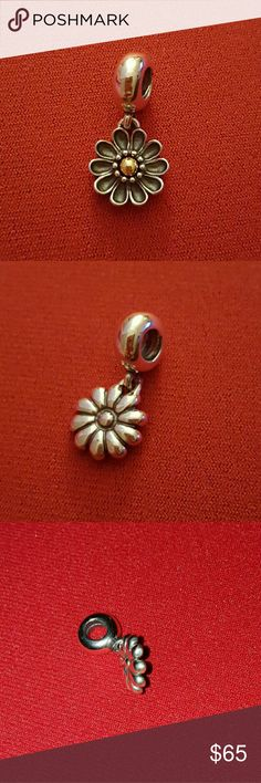 Pandora 925 ale with 14k gold Oopsie Daisy charm I Rarely worn this charm New looking condition Pandora Retired Oopsy Daisie dangle Pandora Jewelry