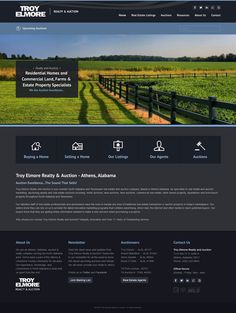 Custom Web Design for Troy Elmore Realty and Auction, Inc. in Athens, Alabama. Custom responsive design built on 3 CMS. Athens Alabama, Custom Web Design, Real Estate Houses, Troy, Building Design, This Is Us, Auction, Dark, Inspiration