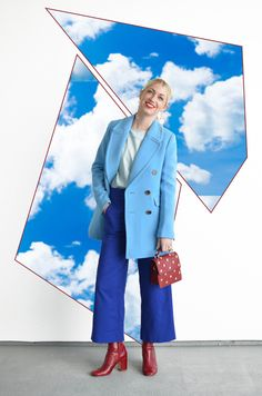 Sky Blue and Royal Blue outfit, red boots and purse
