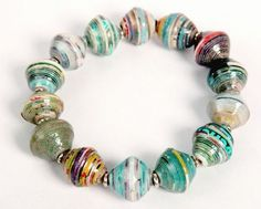 Recycled Paper Stretch Bracelet - Earth Tones