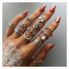 silver rings in the sale! prices from Sterling silver rings in the sale! prices from Nail Jewelry, Cute Jewelry, Bridal Jewelry, Jewelry Rings, Black Jewelry, Accesorios Casual, Bohemian Jewellery, Jewellery Shops, Jewellery Box