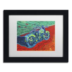 Lowell S.V. Devin 'Expressionist Bike' White Matte, Framed Wall Art