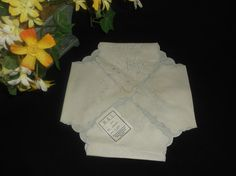 $4.99 BLI Linen Hot Rolls Bread Basket Liner Cover Antique Original Tag NOS embroided