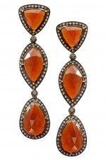 Tribebyamrapali-14k Gold Silver Diamond Multi Shaped Hessonite Earrings