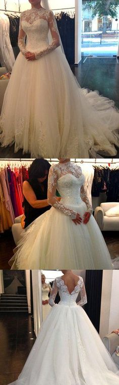 Sexy New Sheer Lace Long Sleeves Backless A-Line Wedding Dresses High Neck Tulle Applique Beaded Court Train Bridal Gowns