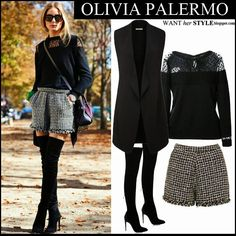 Olivia Palermo in black tuxedo vest, black lace sweater, black and white fringed shorts with black suede over the knee boots