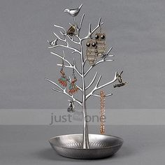 Vintage Bird Tree Style Jewelry Stand Display for Earring Organizer Ring Holder