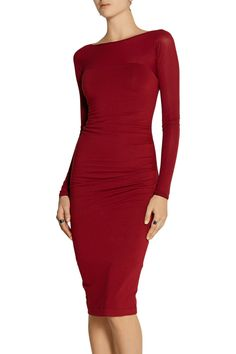 Donna Karan New YorkRuched stretch-jersey and stretch-georgette dressfront