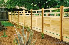fence designs | Fences By Design, Co. - Modular Architectural & Redwood Fencing I like the top on this one