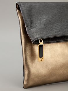 34ed9d454dc7 FENDI fold over bicolour clutch bag