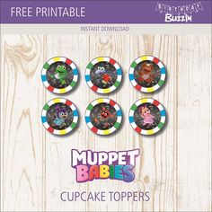These free printable Muppet Babies cupcake toppers are great for decorating cupcakes for a Muppet Babies themed party. Baby Cupcake Toppers, Baby Cake Topper, Baby 1st Birthday, 4th Birthday Parties, Muppet Babies, Party Themes, Party Ideas, Baby Party, Free Printables