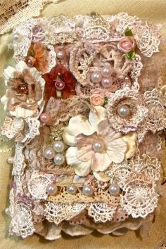 Beautiful Victorian Vintage Fabric Scrapbook Premade Collage Book Lace Khatsart | eBay   Pinned for inspiration only!!!