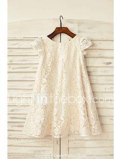 Fourreau / Colonne Mi-long Robe de Demoiselle d'Honneur Fille - Dentelle Manches Courtes Décolleté avec de 2017 ? €50.75