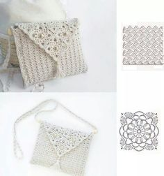 Two beautiful diagrams that can seamlessly create a gorgeous purse!Collection of crochet patterns for small bags Crochet Clutch Bags, Crotchet Bags, Crochet Handbags, Crochet Purses, Knitted Bags, Crochet Case, Diy Crochet And Knitting, Crochet Diagram, Crochet Gifts