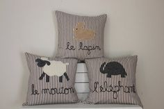 Children's Pillow Set of Sheep Rabbit and Elephant by roomtoromp, $90.00