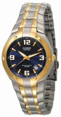 Casio Men's EF106SG-2AV Edifice 10-Year Battery Analog Bracelet Watch Casio. $32.95. Protective mineral crystal protects watch from scratches. Water-resistant to 330 feet (100 M). Case diameter: 37 mm. Stainless-steel case; blue dial; date function. Quartz movement