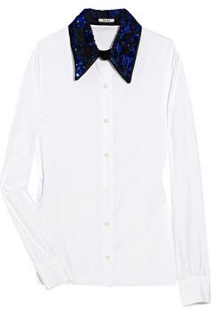 75130b4a83b13 Miu Miu sequined-collar cotton-poplin top Holiday Party Dresses