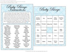 FREE (Girl and Boy) Baby Shower Bingo Printables from A Party Studio