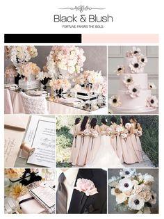 Black, light pink, blush wedding inspiration board, color palette, mood board, via Weddings Illustrated