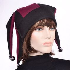 924e4641b8e Harlequin Jester Hat Maroon Black Fool Hat -Traditional Style Fleece Mens  Hat Womens Hat Bells