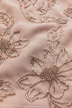 Delicate bead hand embroidery on dusty rose georgette fabric. Minimalist floral embroidery perfect for any occasion Delicate bead hand embroidery on dusty rose georgette fabric. Minimalist floral embroidery perfect for any occasion Hand Embroidery Dress, Embroidery Neck Designs, Tambour Embroidery, Bead Embroidery Patterns, Couture Embroidery, Bead Embroidery Jewelry, Embroidery Fabric, Embroidery With Beads, Zardosi Embroidery