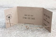 Sample Tying the Knot Save the Date, handmade by me Kraft Save the Date, Rustic Save the Date, Gatefold Save the Date, Knot Save the Date on Etsy, $2.00