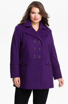 Kristen Blake Double Breasted Peacoat (Plus) available at #Nordstrom