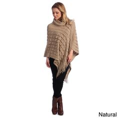 A turtleneck design highlights this poncho. Knit acrylic makes up the body, finished in neutral colors.