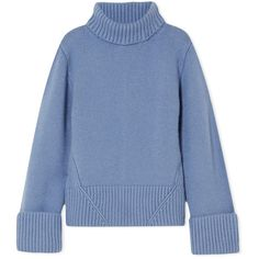 Khaite Wallis cashmere turtleneck sweater ($1,665) ❤ liked on Polyvore featuring tops, sweaters, light blue top, turtle neck top, cashmere turtleneck, light blue turtleneck and blue sweater