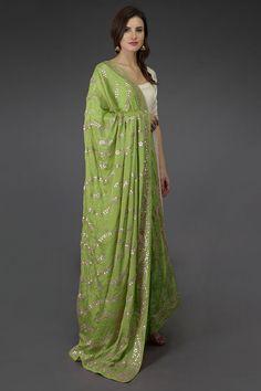 Pepper Stem Gota Patti & Zari Hand Embroidered Dupatta With Suit Anarkali Dress, Pakistani Dresses, Indian Dresses, Indian Outfits, Anarkali Suits, Punjabi Suits, Lehenga, Anarkali Patterns, Indian Jackets
