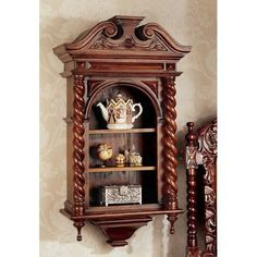 Charles II Wall Curio Cabinet - http://www.furniturendecor.com/charles-ii-wall-curio-cabinet/ - Categories:China Cabinets, Dining Room Furniture, Furniture, Home and Kitchen