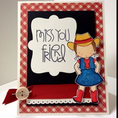 Cowgirl miss you card colored with Copics