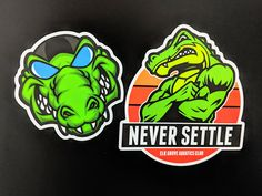 The Elk Grove Aquatics Club uses a pair of matte to promote their message: Never Settle. With an alligator as their mascot, this 🏊 team will motivate their swimmers with great design and an instantly shareable duo of stickers. Gator Logo, Elk Grove, Logo Sticker, Swimmers, Printed Shirts, Printing, Club, Cartoon, Logos