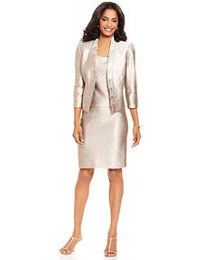 Kasper Suit, Three-Quarter-Sleeve Pleated Jacket, Sleeveless Top & Skirt - Womens Suits & Suit Separates - Macy's