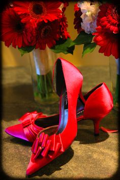 wedding shoes with flowers red