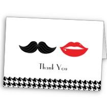 Lips & Mustache Houndstooth Wedding Thank You Card by poptasticbride