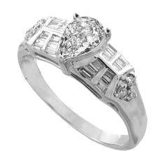 Diamond Ring in 18k White Gold (0.70 carat) - Furnishdream.com- Online Store selling Diamond and Fashion Jewelry