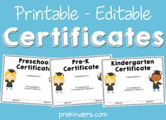 Printable Editable Certificates for Preschool, Pre-K, Kindergarten