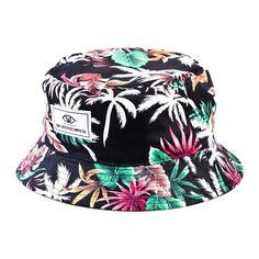 cb30fbffd7b Deep Lifestyles Black Unisex Women Men Tropical Floral Pattern Reversible Bucket  Hat
