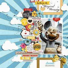 Disney Mickey Digital Scrapbook Layout by pusticks using FREE Template (Nov 2013)  & Project Mouse by Sahlin Studio