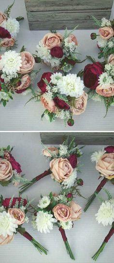 Bridesmaids Bouquets, Wedding Bouquet, Wedding Flowers, Artificial Wedding Bouquet, Silk Flower Bouquet, Wine, Burgundy,Champagne, Cranberry #affiliate #weddings #flowers