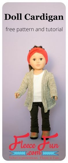 American Girl Dolls : Image : Description DIY Doll Sweater Cardigan with FREE Pattern! This adorable doll cardigan is the perfect layering item for an American Girl doll. With these easy American Girl Outfits, Ropa American Girl, American Doll Clothes, Sewing Doll Clothes, Sewing Dolls, Girl Doll Clothes, Girl Dolls, Ag Dolls, Barbie Clothes