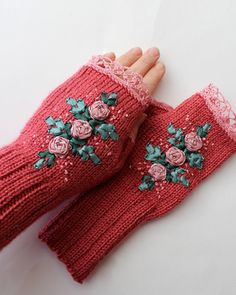 Hand Knitted Fingerless Gloves, Gloves & Mittens, Accessories, Ribbon Embroidery, Rose, Green, Pink, Spring,Elegant, Cozy, For Women, Easter on Etsy, $38.00