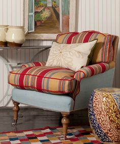 Designers Guild - Fabrics & Wallpaper Collections, Furniture, Bed and Bath, Paint, and Luxury Home Accessories Couch Cushions, Chaise Sofa, Sofa Chair, Armchair, Pillows, Recover Couch, English Interior, Patterned Chair, Cozy Corner