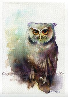 PRINT – Owl Watercolor painting 7.3 x 11""