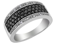 White and Black Diamond Ring 2/3 Carat (ctw) in Sterling Silver $199.99
